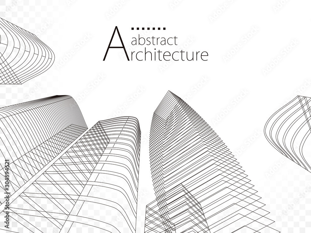 Fototapeta 3D illustration linear drawing, architecture urban building design, architecture modern abstract background.