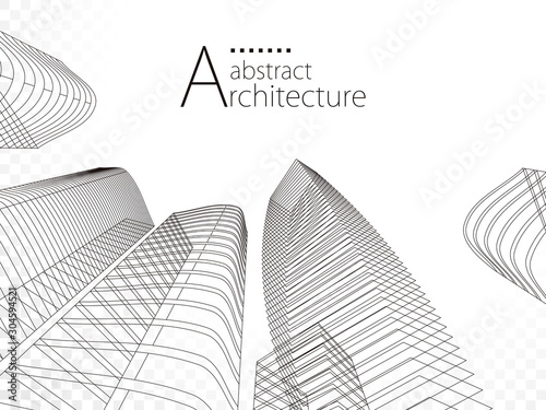 3D illustration linear drawing, architecture urban building design, architecture modern abstract background.  - 304594521