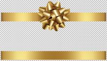Christmas Gold Bow And Ribbon