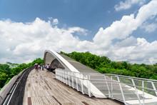 Amazing Bridge Imitating A Wave In Singapore. Wooden Walkway