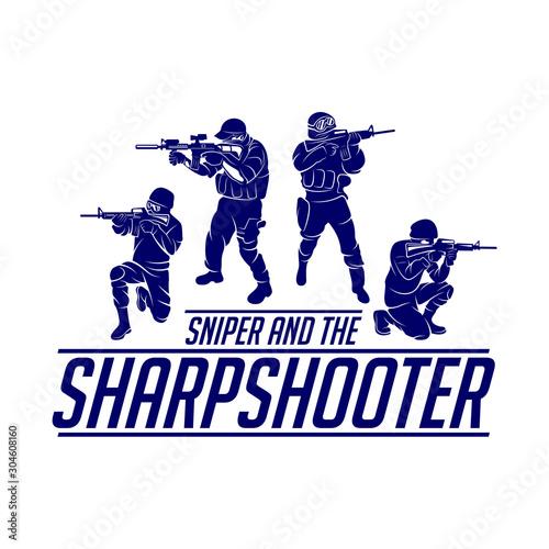 Fotografija Sniper vector logo design concept style, Sharpshooter Style Concept logo Template, emblem and tshirt printing