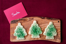 Christmas Note To Santa, Sugar Cookies On A Wood Board, Red Background