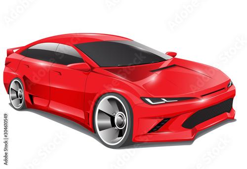 Realistic red sport car sedan 3D design on isolated background vector illustration Fototapeta