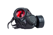 Red Eyes Gas Mask With Air Filtering For Protect From Toxic Use  In Night Duty. Look Old After Mission. Put On The Floor. Clipping Path