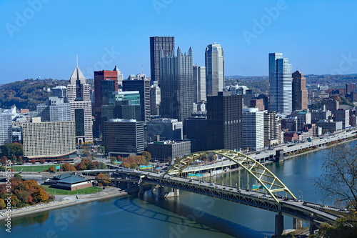 Pittsburgh downtown skyline with Duquesne Bridge viewed from across the Alleghen Canvas Print