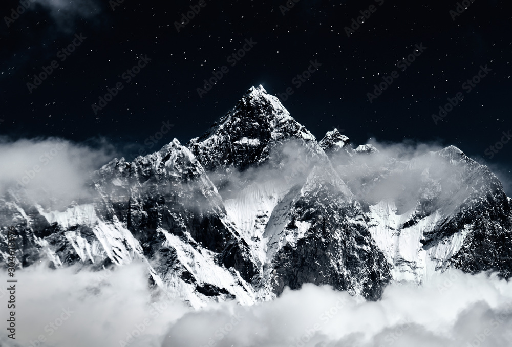 Fototapety, obrazy: Top of mount in the clouds at night, Nepal