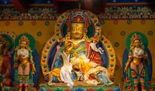 Buddha Images In Traditional Tibetan Style In Khumjung Monastery Inside Sagarmatha National Park, Nepal.