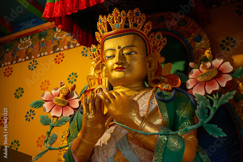 Buddha images in traditional Tibetan style in Khumjung monastery inside Sagarmatha National Park, Nepal Canvas Print