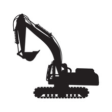 Graphic Silhouette Backhoe, Ve...