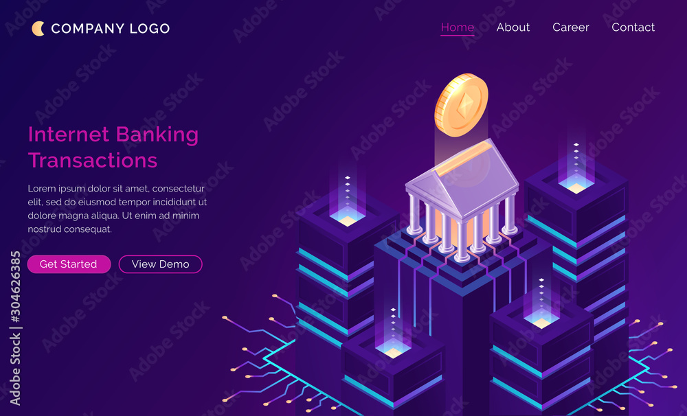 Fototapeta Online internet banking transaction, isometric finance concept vector. Bank building with gold coin on pedestal and traffic connections with servers or data center, finance website landing page