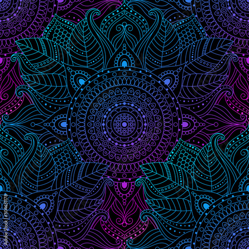 Fond de hotte en verre imprimé Style Boho Seamless oriental arabesque pattern. Laced decorative floral pattern with circular ornament, gradient mandala on black background. Mosaic tiles boho, ethnic design in vector, Indian or Arabic motifs.
