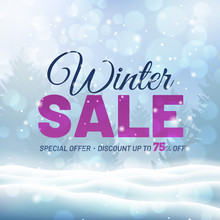 Winter Sale Design With Snow L...