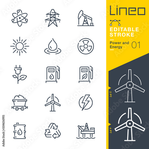 Canvas-taulu Lineo Editable Stroke - Power and Energy line icons