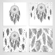 Black And White Feathers And Dreamcatchers, Set Of Cards And Seamless Pattern With Floral Details, Vector Illustration Boho Design, Can Be Used For Invitation, Postcard.