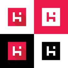 Digital Letter H Logo Icon Design, Flat Style Vector Illustration