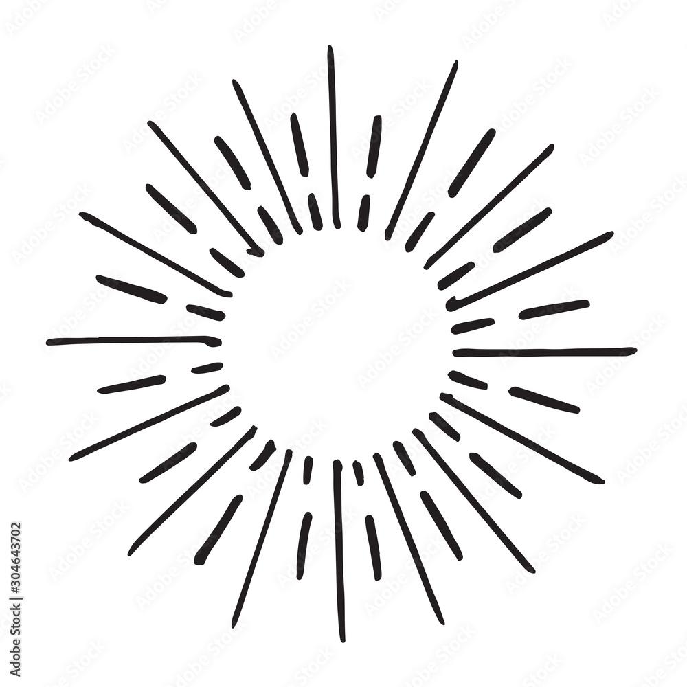 Fototapeta doodle design element. hand drawn of spark firework. vector illustration isolated on white background. - obraz na płótnie