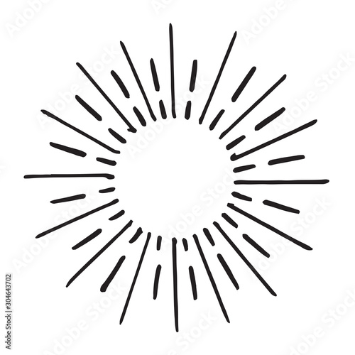 Fototapeta doodle design element. hand drawn of spark firework. vector illustration isolated on white background. obraz na płótnie