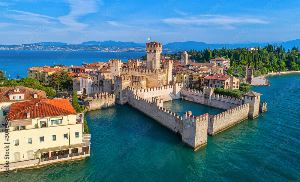 Fototapeta Aerial view to the town of Sirmione, popular travel destination on Lake Garda in Italy