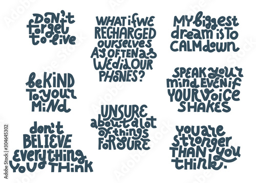 Papiers peints Positive Typography Set of anxiety quotes