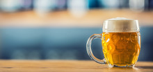 Mug Of Cold Beer On Bar Counte...