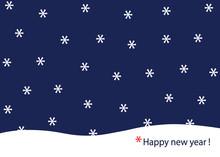 Carte De Vœux 2020 Avec Une Illustration Sobre Et Conceptuelle, Montrant Des Flocons De Neige En Forme D'astérisque, Qui Tombent Et Renvoient à Un Message De Bonne Année.
