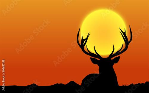 Deer silhouette at sunset. Vector Illustration.