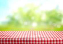 Checkered Picnic Red Table Cloth Table On Natural Background.