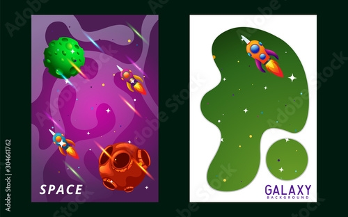 set of space banners. vector illustration. cover design. sky, planets and stars Rocket space trip concept. Galaxy game design. Vector illustration