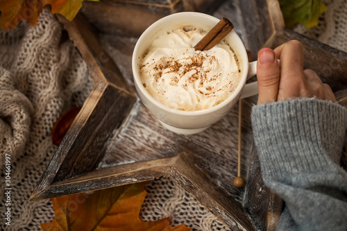 Foto auf Leinwand Schokolade Hot chocolate cup with cream and cinnamon spice