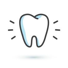 Flat Tooth Icon. Dental Treatment Symbol. Dentist Logotype Template