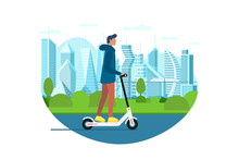 Young Male Riding Electric Kick Scooter. Activity Lifestyle Moving Concept On Future City Street. Vector Illustration Innovative Active Mobility Hipster Adult Millennial On Metropolis Cityscape