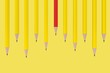 canvas print picture - Red Pencil on Yellow Background 3D Rendering