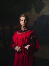 Handsome Man In A Royal Red Do...