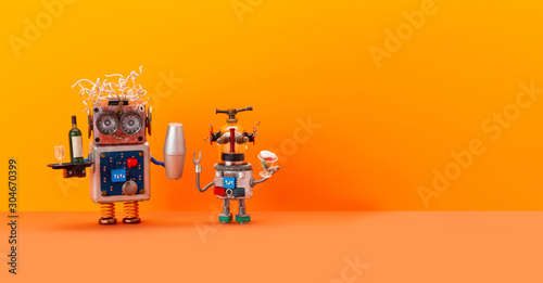 Fotografia  Artificial intelligence robotics automation restaurant business concept