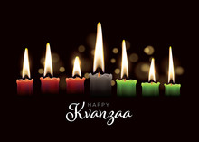 Happy Kwanzaa Card Template With Seven Candles
