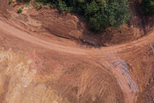 Aerial Photography Dirt Road Curved Road Texture And Trees Top View