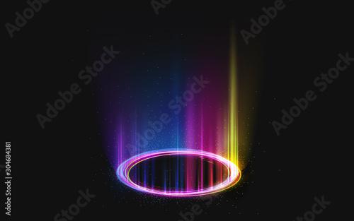 Fotografia Magic rainbow portal on night scene