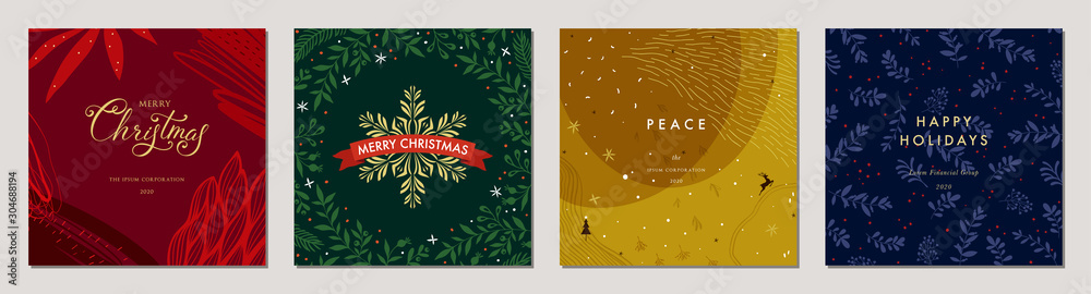 Fototapety, obrazy: Merry Christmas greeting cards. Trendy abstract square Winter Holidays art templates. Suitable for social media post, mobile apps, banner design and web/internet ads.