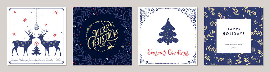 Fototapeta na wymiar Ornate Merry Christmas greeting cards. Trendy square Winter Holidays art templates.