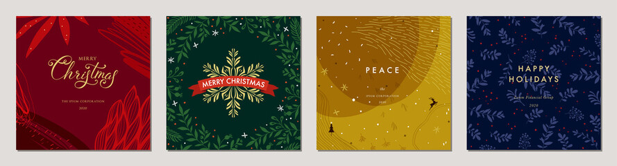 Merry Christmas greeting cards. Trendy abstract square Winter Holidays art templates. Suitable for social media post, mobile apps, banner design and web/internet ads.