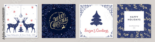 Ornate Merry Christmas greeting cards. Trendy square Winter Holidays art templates. - 304688191