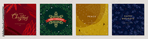 Merry Christmas greeting cards. Trendy abstract square Winter Holidays art templates. Suitable for social media post, mobile apps, banner design and web/internet ads. - 304688194