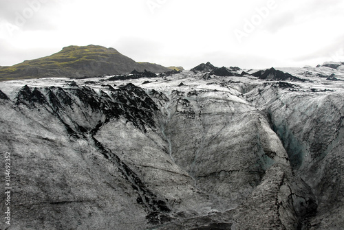 Fototapeta Solheimajokull Glacier,  Iceland: Solheimajokull Glacier is one of the most accessible in Iceland and is part most South Coast tours of the island