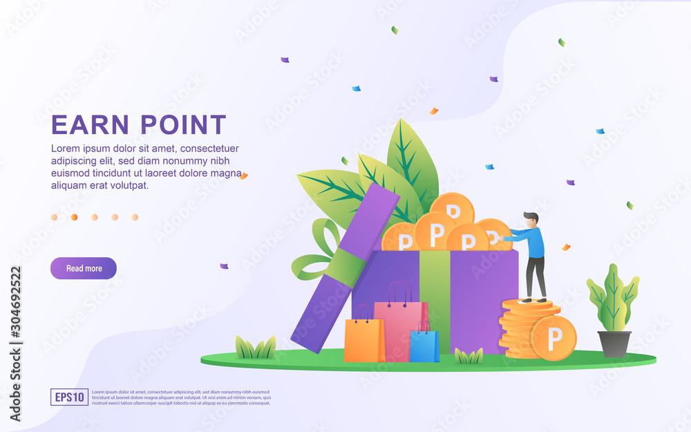 Fototapeta Earn point illustration concept. Loyalty program and get rewards, Customer reward loyalty program, earn bonuses, gift cards. Suitable for web landing page, marketing material, mobile app, web banner.