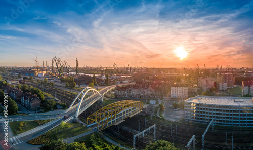 Obraz Panorama of Gdańsk aerial view - fototapety do salonu