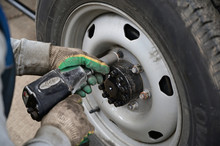 Concept Photography With A Tire Fitting. The Worker Serves The Car, Changing Tires On The Wheel. Removes Or Puts On A Wheel, Unscrews The Nuts Using A Special Tool.