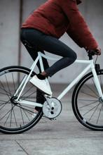 Close-up Of Woman Riding Bike