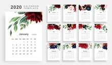 2020 Calendar Floral Template
