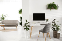 Modern Workplace In Room Decor...
