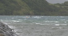 Small Fishing Boat In Rough Sea And Strong Wind As Storm Nears - Noul